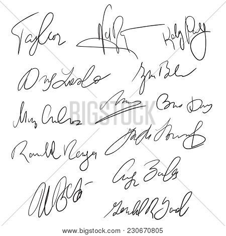 Autographs Handwritten Pen Signatures For Delivery And Business Documents Vector Stock. Autograph Ha
