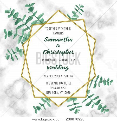 Wedding Invitation Floral Card With Gold Geometric Frame And Eucalyptus On Marble Background. Fashio