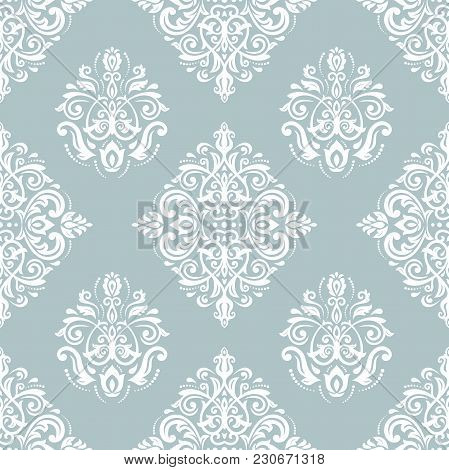 Orient Vector Classic Blue And White Pattern. Seamless Abstract Background With Vintage Elements. Or