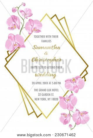Wedding Invitation Floral Card With Gold Geometric Frame And Orchids. Fashion Greenery Botanical A4