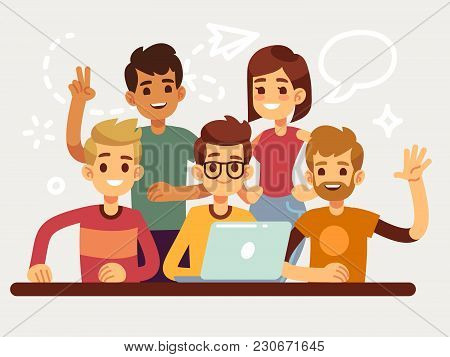 Business Creative Team, Happy Coworking People Group. Flat Design For Website And Teamwork Concept.