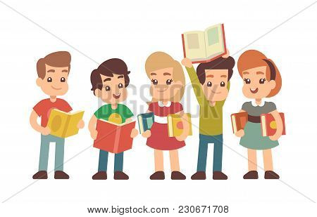 Cartoon Preschool Children With Books. Learning And Stadying Vector Concept. Preschool Kids With Boo