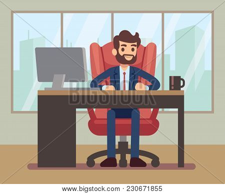 Businessman Working At Desk With Laptop In Corporate Office Workplace. Business Table And Businessma