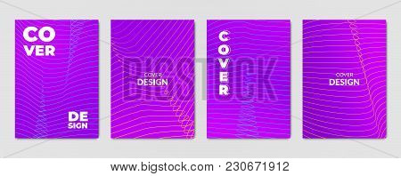 Vivid Abstract Violet Backgrounds. Set Of Modern Cover Design Templates
