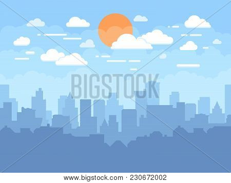 Flat Cityscape With Blue Sky, White Clouds And Sun. Modern City Skyline Flat Panoramic Vector Backgr