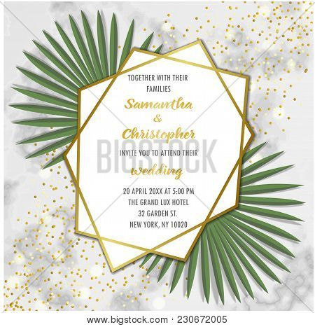 Wedding Glamorous Invitation Floral Card With Gold Geometric Frame And Palm Leaves On Marble Backgro