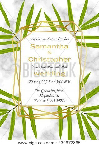 Wedding Glamorous Invitation Card With Gold Geometric Frame And Bamboo Leaves On Marble Background.