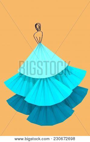 Blue Fluffy Dress Woman Silhouette On Orange Pastel Background 3d Illustration. Concept Of Modeling