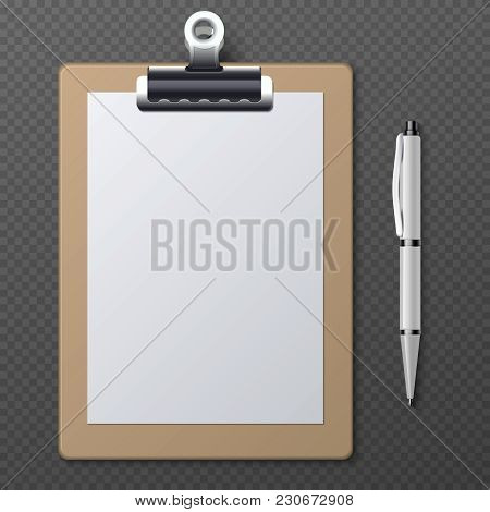 Realistic Clipboards With Blank White Paper Sheet And Pen. Vector Business Template Clipboard Notepa