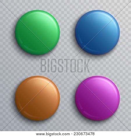 Colorful Blank Button Badges, Round Pin Magnets Isolated Vector Set. Button And Pin Round, Magnet Ba