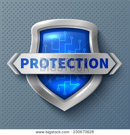 Shiny Protection Metal Shield. Realistic Safety And Protection Symbol. Shield Safety Emblem, Protect