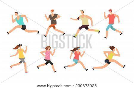 Athlete Man And Woman Running. Energetic People Runners In Sportswear Vector Set. Sport Athlete Run