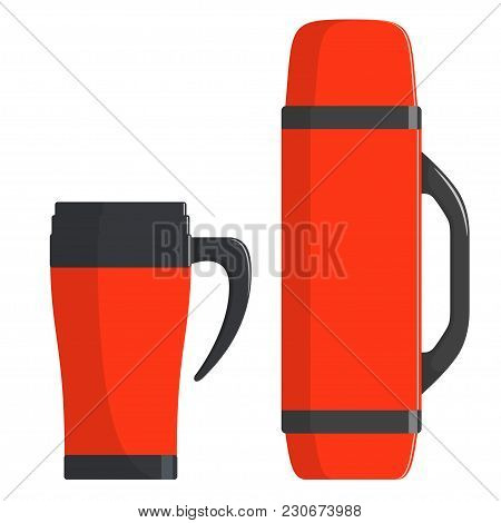 Thermo Cup, Travel Mug, Thermos Isolated On White Background. Modern Thermoses For Hot Drinks, Set.