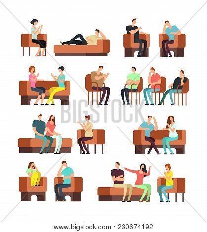 Patients And Psychologist. Psychotherapy Support. Stressed People Meeting Psychiatrist Vector Set. T