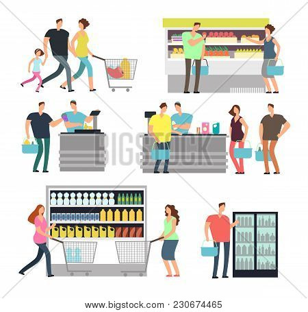 Shopping Shop People In Supermarket. Family Buyers And Store Employees In Mall Vector Icons Set. Sup