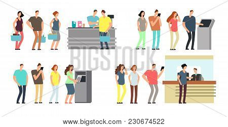 Queues Of People Vector Set. Man And Woman Standing In Line At Atm, Terminal And Bank Vector Cartoon