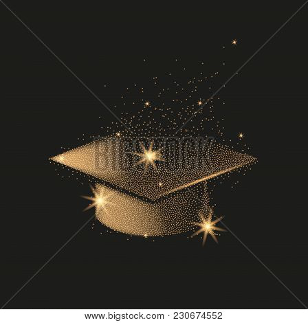 Graduation Hat Or Mortar Board. Divergent Gold Particles Abstract Illustration.
