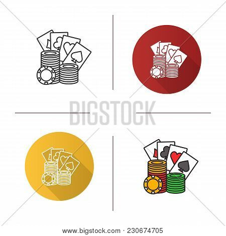 Casino Chips Stack With Playing Cards Icon. Flat Design, Linear And Color Styles. Casino. Poker. Iso