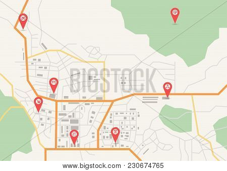 Vector Flat Abstract City Map, With Pin Pointers And Infrastructure Icons
