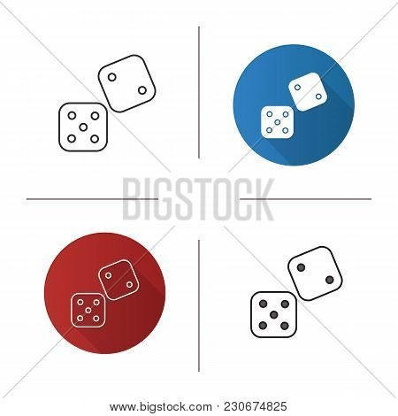 Dice Icon. Flat Design, Linear And Color Styles. Gambling. Isolated Vector Illustrations