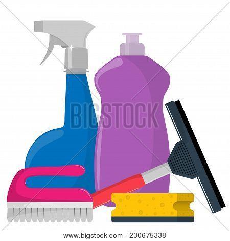 The Bottles Of Detergent, Washing Powder, Detergent Powder, Bottle Of Spray, Cleaning Sponge, Cleani