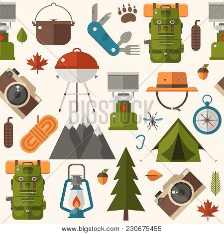 Hiking Pattern With Forest Adventure And Summer Activity Elements And Icons. Picnic And Camping Seam