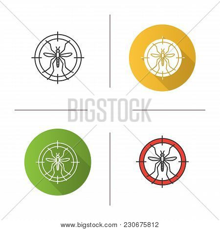 Mosquitoes Target Icon. Flat Design, Linear And Color Styles. Anti-insect Repellent. Isolated Vector