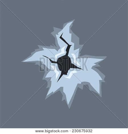 Bullet Hole With Cracks And Scratches, Bullet Mark On Glass Vector Illustration On Transparent Gray