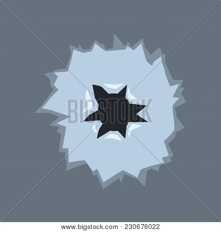 Bullet Hole With Cracks, Bullet Mark On Glass Vector Illustration On Transparent Gray Background.