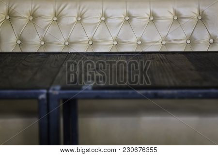 Empty Table In Vintage Living Room, Stock Photo