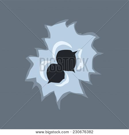 Bullet Holes With Cracks And Scratches Vector Illustration On Transparent Gray Background.
