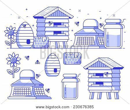 Apiary And Beekeeping Icon Set With Apiarist Equipment And Essentials. Such As Beekeeper Hat, Honey