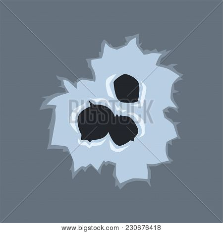 Bullet Holes With Cracks, Bullet Marks On Glass Vector Illustration On Transparent Gray Background.