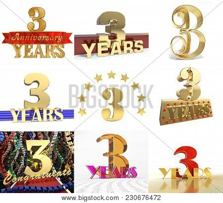 Set Of Number Three Years 3 Years Celebration Design. Anniversary Golden Number Template Elements Fo