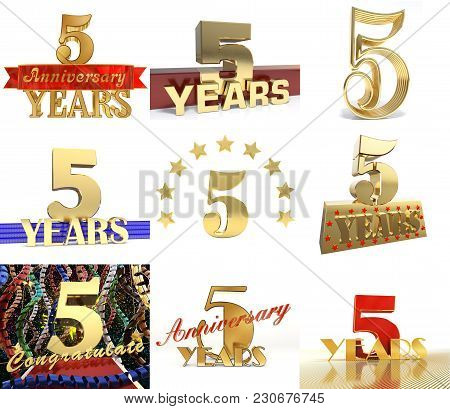 Set Of Number Five Years 5 Years Celebration Design. Anniversary Golden Number Template Elements For