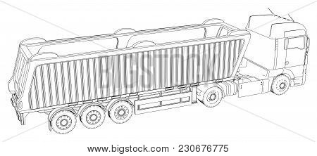 Vector Isometric Representing Truck Or Tractor With Tipper Semi-trailer. Created Illustration Of 3d.