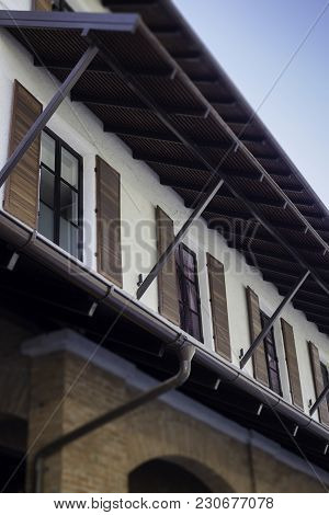 Vintage Exterior Building Made By Wood And Brick, Stock Photo