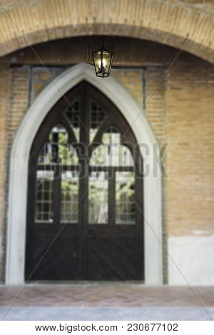 Vintage Entrance Made By Brick And Mirror With Lighting, Stock Photo