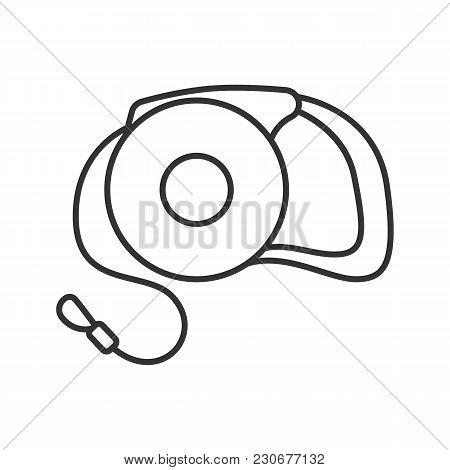 Retractable Pet Lead Linear Icon. Dog Leash. Thin Line Illustration. Contour Symbol. Vector Isolated