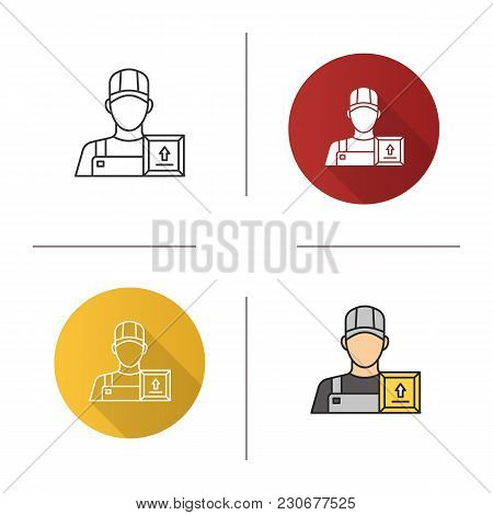 Loader Man Icon. Flat Design, Linear And Color Styles. Delivery Service. Courier. Isolated Vector Il