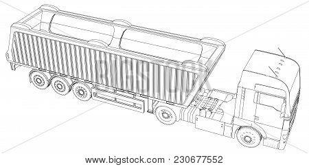 Semi-trailer Dump Truck Sketch Isolated On White Background. 3-axle Trailer Truck. Tracing Illustrat
