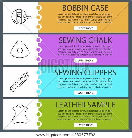 Tailoring Web Banner Templates Set. Bobbin Case, Sewing Chalk, Clippers, Leather Sample. Website Col
