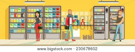 Buyers Making Purchase In Supermarket, Store Shelves With Drinks, Supermarket Interior Design Horizo