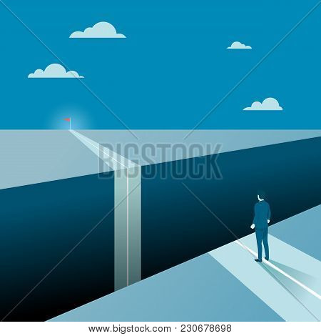 Businessman Facing A Big Gap Of His Goal Target, Concept Of Business Obstacles With A Big Abyss. Fla