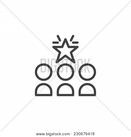 Three Person And Star Outline Icon. Linear Style Sign For Mobile Concept And Web Design. Leader Simp