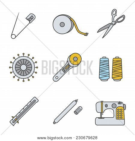 Tailoring Color Icons Set. Safety And Straight Pins, Measuring Tape, Fabric Scissors, Rotary Cutter,
