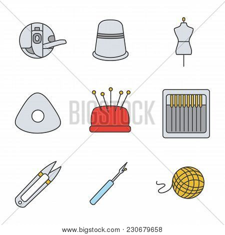 Tailoring Color Icons Set. Bobbin Case, Sewing Thimble, Mannequin, Chalk, Pincushion, Needles, Threa
