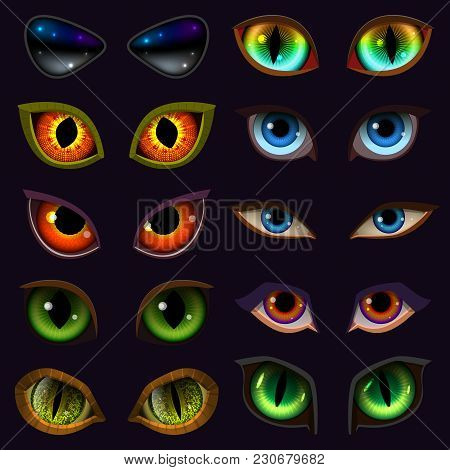 Cartoon Eyes Vector Devil Eyeballs Of Beast Or Monster And Animals Scary Expressions With Evil Eyebr