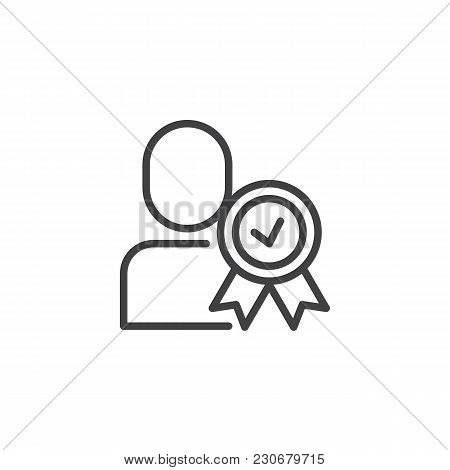 Certified Person Outline Icon. Approved User Linear Style Sign For Mobile Concept And Web Design. Ma