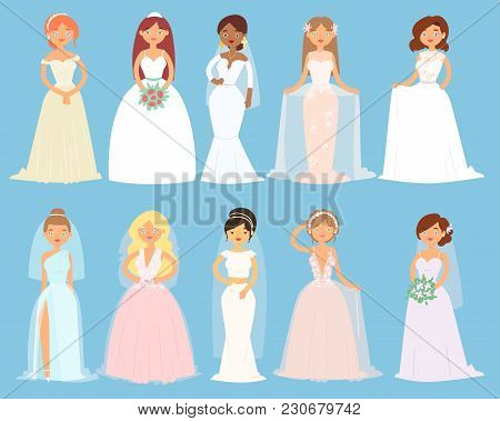 Wedding Dresses On Woman Vector Bride Character And Bridesmaid Wearing White Dressing Accessories An